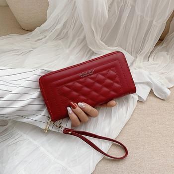 Γυναικείο πορτοφόλι από οικολογικό δέρμα με φερμουάρ και λαβή