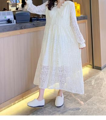 Дамска дантелена рокля с дълъг ръкав - подходяща за бременни