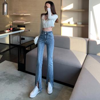 Νέο μοντέλο ελαστικά γυναικεία τζιν με υψηλή μέση σε μπλε χρώμα
