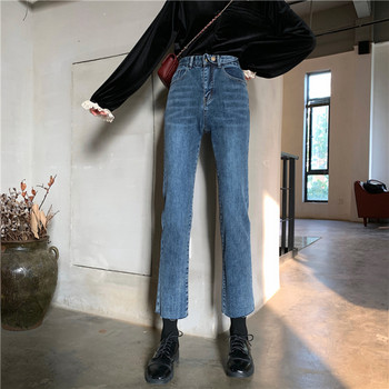 Γυναικεία τζιν casual με μήκος 9/10 σε μπλε χρώμα