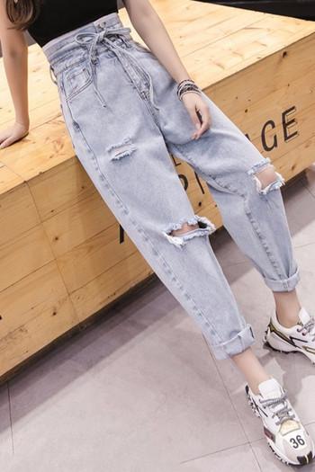 Γυναικεία casual τζιν με σκισμένα μοτίβα και ζώνη