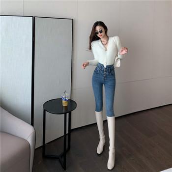 Γυναικεία casual τζιν με ψηλή μέση και κουμπιά