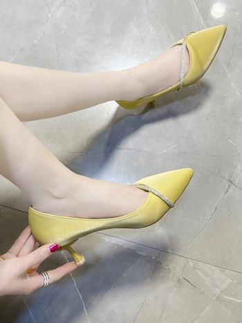 Модерни дамски обувки с камъни -височина на ток 6см