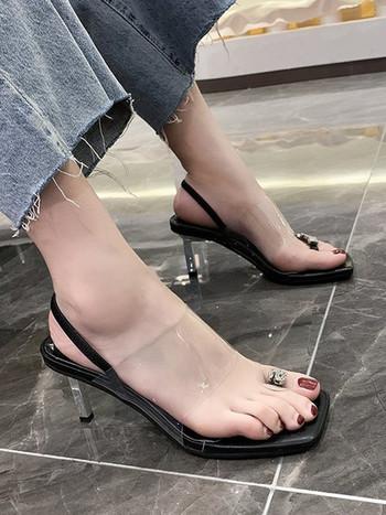 Модерни сандали със силиконови каишки и камъни