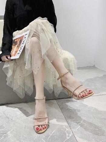Нов модел сандали тънки каишки с декорация камъни