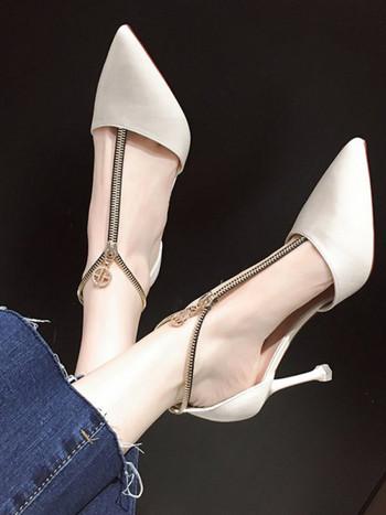Модерни обувки с цип и висок ток