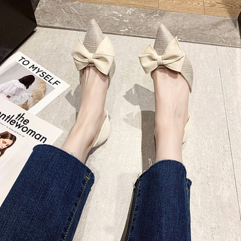 Заострен модел дамски обувки с кожена панделка и 5см ток