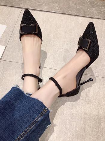 Нов модел дамски заострени обувки с тънък висок ток