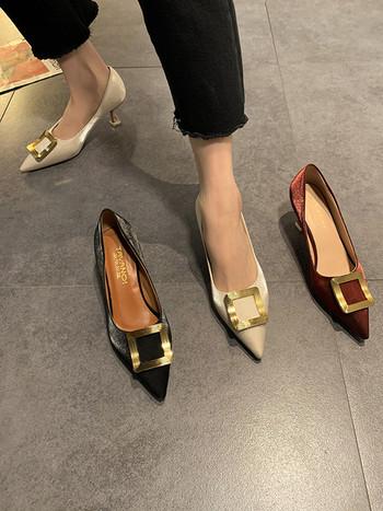 Стилни дамски обувки от метална катарама и 7см ток