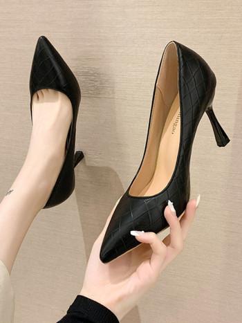 Нов модел дамски кожени обувки с висок ток- няколко цвята