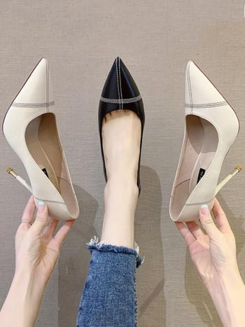 Модерни обувки от еко кожа заострен модел с висок ток