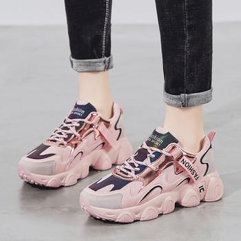 Дамски обувки с връзки и груба подметка в различни цветове