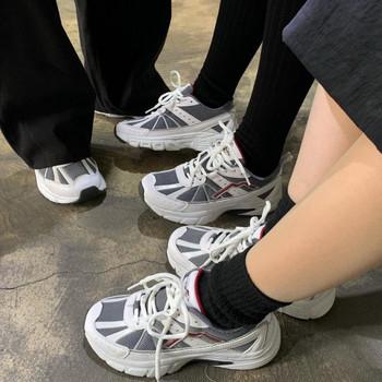 Нов модел дамски ежедневни обувки с връзки -ретро стил