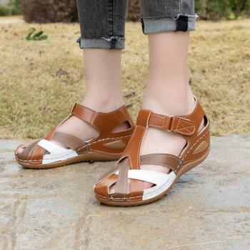 Дамски кожени  сандали с равна подметка