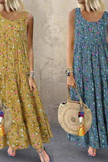 Μακρύ γυναικείο φόρεμα με λουράκια και λουλουδάτο μοτίβο