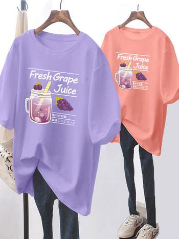Γυναικείο φαρδύ μπλουζάκι με απλικέ - διάφορα μοντέλα