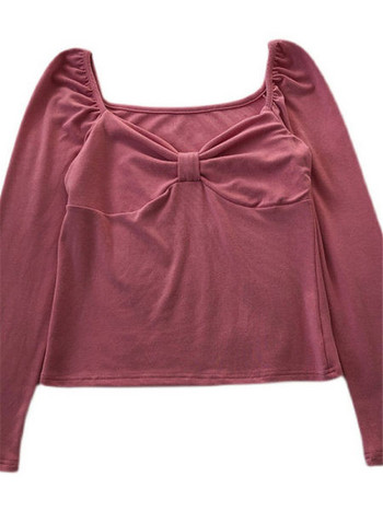 Дамска къса блуза с набрано деколте и дълъг ръкав