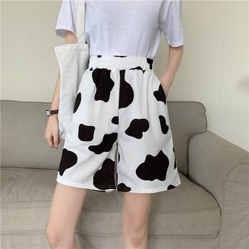 Ежедневни дамски панталони с животински десен в черно-бял цвят