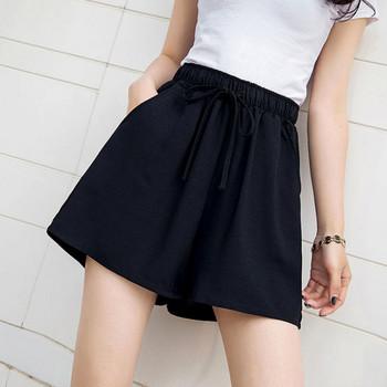 Ежедневни къси панталони с ластична талия и връзки в черен цвят