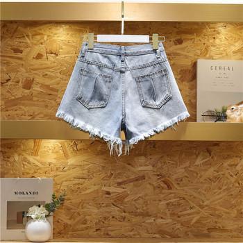 Дамски широки къси панталони с разкъсани мотиви