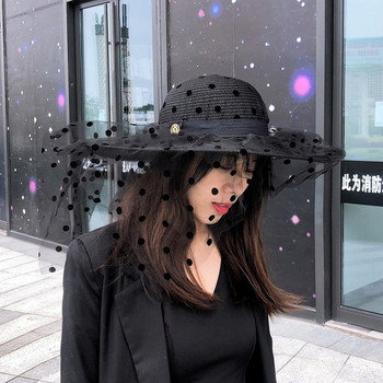 Γυναικείο casual καπέλο με τούλι και μεταλλικό στοιχείο