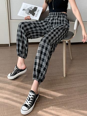 Дамски кариран панталон с връзки на глезена