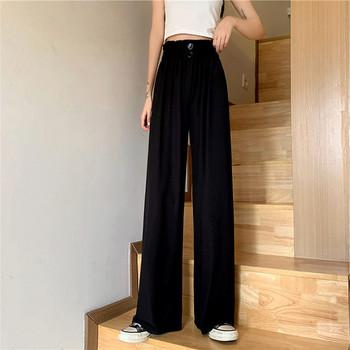 Дамски копринен панталон широк модел с ластик и копчета