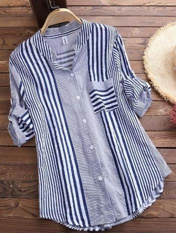 Дамска свободна риза на райе с копчета