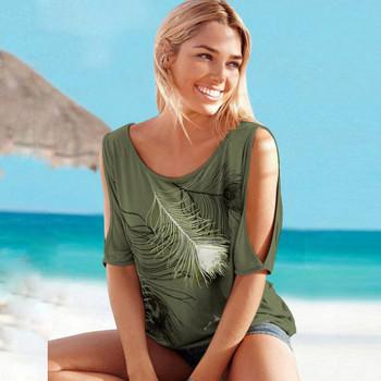 Γυναικεία καλοκαιρινή μπλούζα με ανοιχτούς ώμους διαφορετικά μοντέλα με φλοράλ μοτίβα