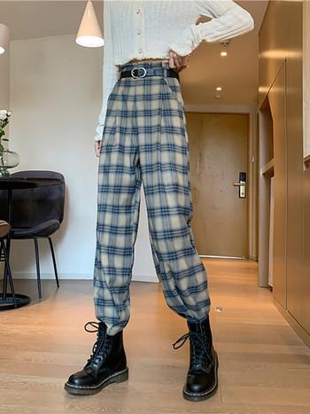Ежедневен кариран панталон с висока талия-ретро стил