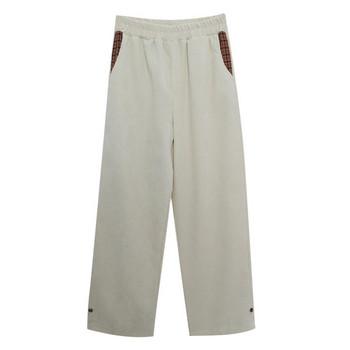 Ежедневен дамски панталон с джобове - широк модел