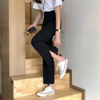 Дамски панталон с цепки  и висока талия
