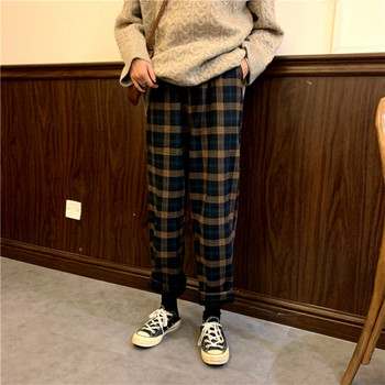 Дамски кариран панталон  в два цвята с висока талия
