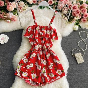 Γυναικεία κοντή φόρμα με λουλουδάτο μοτίβο και τιράντες
