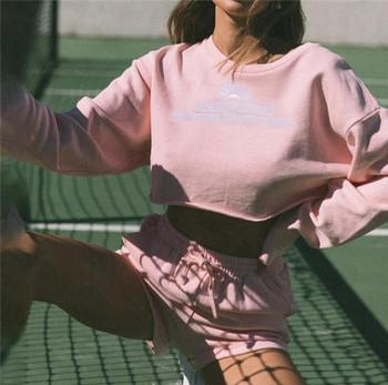 Γυναικείο σετ σορτς και κοντή μπλούζα με επιγραφή
