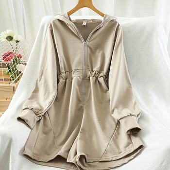 Γυναικείες ολόσωμες φόρμες με ελαστική μέση και φερμουάρ σε διάφορα χρώματα