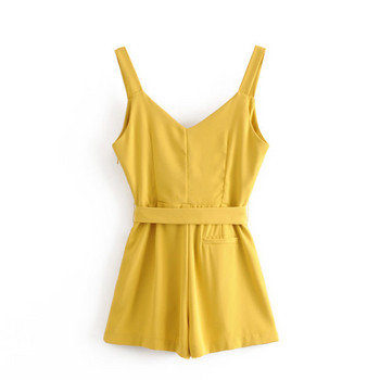 Κοντή καλοκαιρινή ολόσωμη φόρμα με ζώνη και λεπτά τιραντάκια