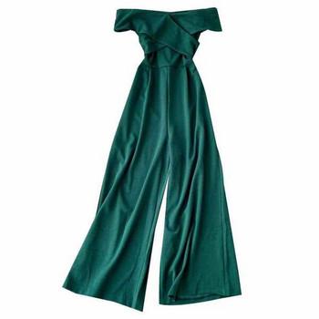 Μοντέρνα γυναικεία ολόσωμη  φόρμα με οβάλ λαιμόκοψη - διάφορα χρώματα