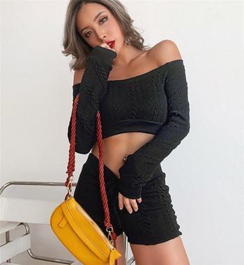 Κομψό γυναικείο σετ  - μπλούζα με μακριά μανίκια και σορτς