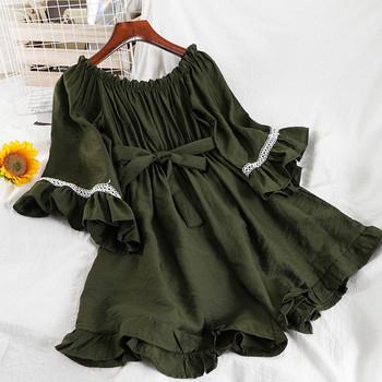 Γυναικεία μοντέρνα  ολόσωμη φόρμα με 3/4 μανίκια και κεντήματα σε διάφορα χρώματα