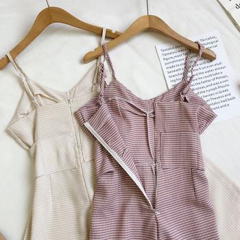 Μοντέρνα  γυναικεία ολόσωμη  φόρμα με λεπτά τιραντάκια και κορδόνια