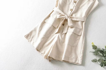 Καθημερινή κοντή ολόσωμη φόρμα με κουμπιά και τσέπες
