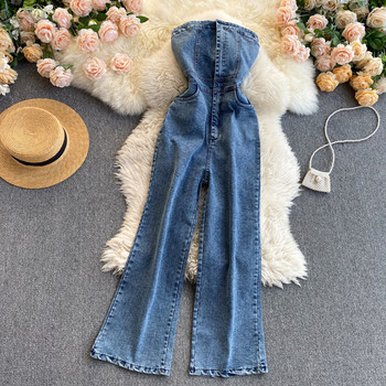 Νέο μοντέλο γυναικεία ολόσωμη φόρμα τζιν σε μπλε-ρετρό στιλ