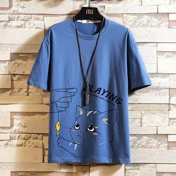 Нов модел мъжка широка тениска с щампа и къс ръкав