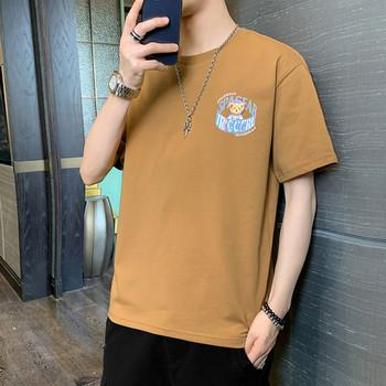 Мъжка ежедневна тениска с апликация и обло деколте