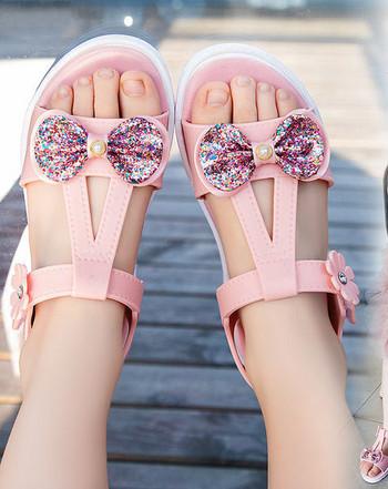 Детски сандали с панделка и цвете