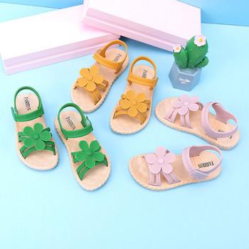 Нов модел детски сандали с 3D елемент цвете за момичета