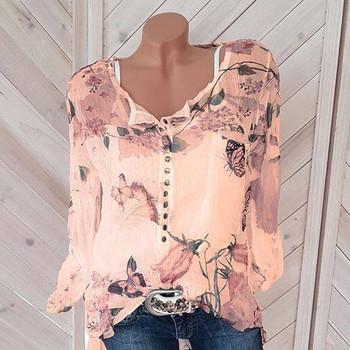 Дамска свежа пролетна блуза с копчета с флорални мотиви в няколко модела и включително голями размери