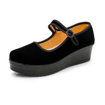 Дамски ежедневни обувки с катарама - в  черен цвят