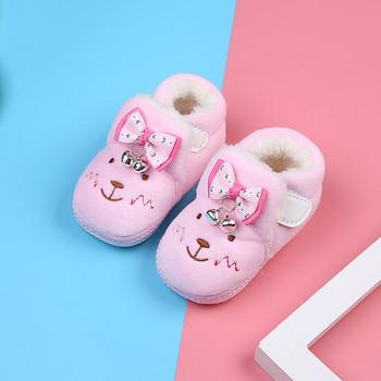 Пухени бебешки обувки за новородени с бродерия и панделка